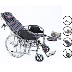 High Back Reclining Wheelchair, can adjust to full horizontal.