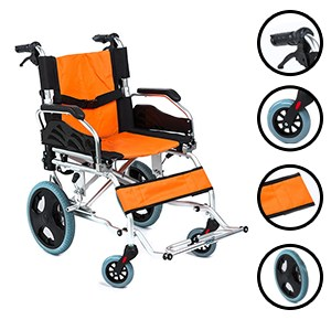 Transporter Attendant Wheelchair Small Lightweight Attendant type Folding Wheelchair.